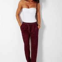 Stride Maroon Red Suedette Drawstring Pocket Trousers | Pink Boutique