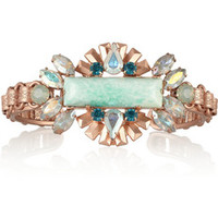 Elizabeth Cole Rose gold-plated, jade and Swarovski crystal cuff – 50% at THE OUTNET.COM