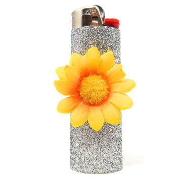 Glittery Cute Sunflower Lighter