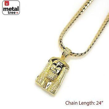 Jewelry Kay style Men's 14k Gold Plated Hip Hop Jesus Pendant Miami Cuban Chain Necklace BCH 11914