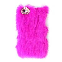 Top Seller Cute Fluffy Villi Fur Plush Wool Bling Hard Case Cover for Iphone 5 5g 5s (Hot Pink)