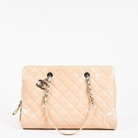 Chanel Beige Patent Leather Quilted Tote