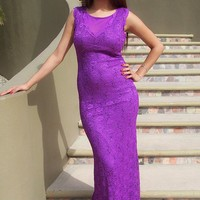 Beauty And Grace Purple Sequin Lace Maxi Dress