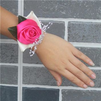 Handmade Satin Rose Wedding Bride Wrist Flowers, Prom corsage, Wedding Gift