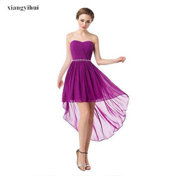 Latest Collection In Stock Girls Homecoming Dress Sweetheart Asymmetrical Chiffon Dress Corset Back Beaded Vestido de coctel