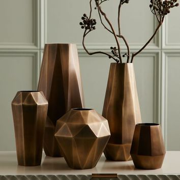 Faceted Metal Vases