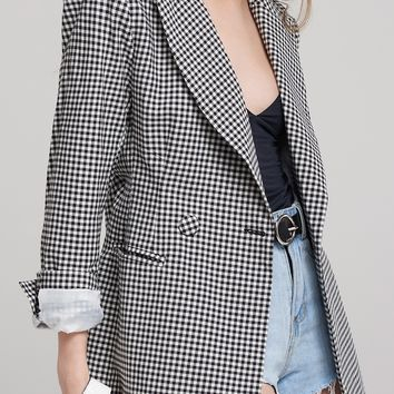 Jill Gingham Long Blazer Discover the latest fashion trends online at storets.com