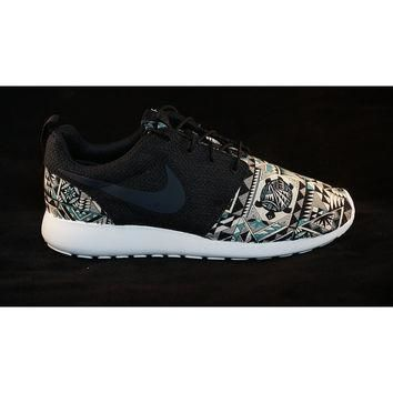 "New Nike Roshe Run Custom Gray Black Green ""Cabo"" Tribal Aztec Edition Mens Shoes Size"