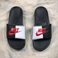 Nike Benassi Swoosh Beach Slippers Black White Red Sandals - Best Online Sale
