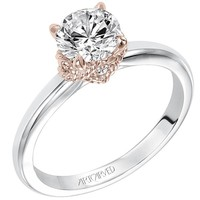 "Artcarved ""Clarice"" Diamond Engagement Ring Featuring Rose Gold Details"