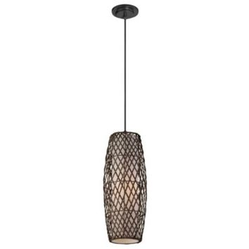 Lite Source Reaves Pendant Light with Rattan Shade in Black