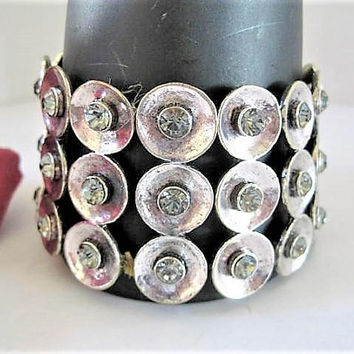 Clear Rhinestone Bracelet, Wide Stretch, Rhinestone Covered, Stretch Band
