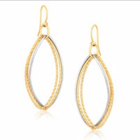 Textured Oval Shape Drop Earrings in 14K Two Tone Gold