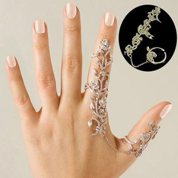 Fashion Women Multiple Rose Crystal Stack Knuckle Band Finger Rings Set Fashion Jewelry  75EE NY79 7IYW