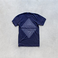 Mens graphic tee | tshirt for men - geometric triangle print on navy blue - mens fashion | for him - Rule of Thirds