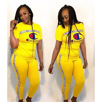 Champion Newest Hot Sale Women Sexy Print Short Sleeve Top Trousers Set Two-Piece Sportswear Yellow