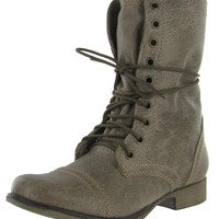 Steve Madden Troopa Women's Combat Boots Leather Military Lace Up