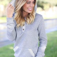 Gray Hoodie with Buttons