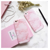 Pink Granite Marble Phone Case for iPhone 6s 6 6Plus