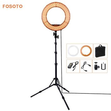 fosoto RL-12 180 LED Photographic Lighting CRI 83+ Color 5500K Dimmable Camera Video Photo phone Ring Light Lamp & Tripod Stand