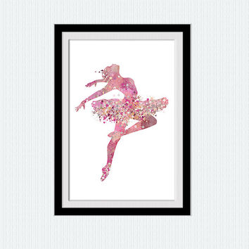 Ballerina pink watercolor print Ballerina colorful poster Home decoration gift Kids room art Gift for birthday Little dancing girl art  W191