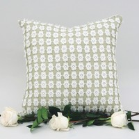 Celadon Burlap Pillow with Lace Overlay 16 x 16 | The Daisy Duke Pillow