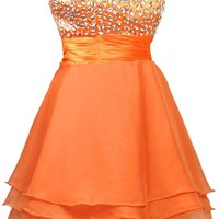 Faironly Orange Crystal Short Cocktail Dresses Owb2 (M)