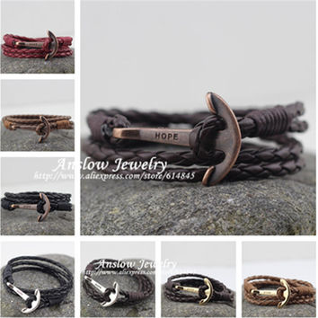 LOW0018LB  Fashion Jewelry Hot Sale 40cm PU Leather  Bracelet Men  Anchor Bracelets For Women Best Friend Gift