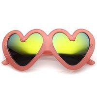 Cute Oversize Heart Sunglasses With Matte Finish Mirrored Lens 55mm