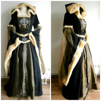 Medieval Dress, Renaissance Gown, LARP and Fantasy, Wedding Dress with Hood