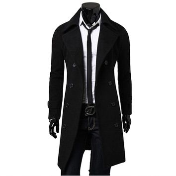 Men's Classic Double Breasted Thick British Style Trench Coat by Lanshifei