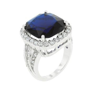 Deep Blue Sapphire Engagement Ring Size 5