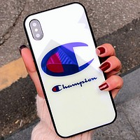 Champion iPhoneX Glass Case Blu-ray iPhone7/8plus Case WHITE BAG LOGO