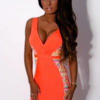 Flirt Neon Orange Sequin Plunge Bandage Dress | Pink Boutique