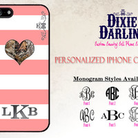 Camo Heart Monogram iPhone 6 / iPhone 6+ / iPhone 5C / iPhone 5/5s / iPhone 4/4s / Cute Country Phone Cases - Coral, Grey, & Camo (CP4101)