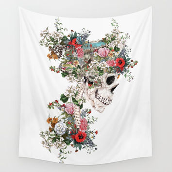 Skull Queen Wall Tapestry by RIZA PEKER