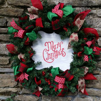 Christmas Wreath Merry Christmas Wreath Large Pine Wreath Artificial Pine Christmas Wreath