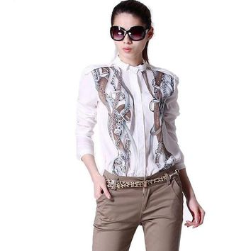 New Fashion 2016 Women's Celebrity Stand Collar Long Sleeve Chain Printed Shirts Tops Chiffon Casual Ladies Blouses blusas Br030