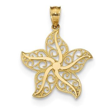 14k Yellow Gold Filigree Starfish Pendant