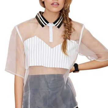 HDY Haoduoyi White Women T-shirts Sheer Half Sleeve Turn-down Collar Stripe Split Side Tops Women High Low Loose Casual Tees