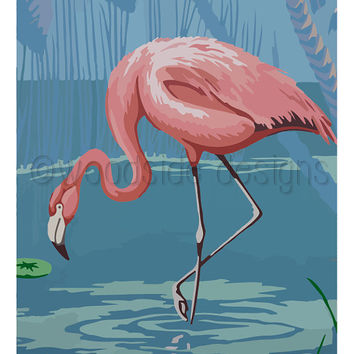 Flamingo Print, Instant Download, Tropical Wall Art, Palm Trees, Beach House Art, Home Decor, Summer Print, Flamingo Print, Kitsch Art