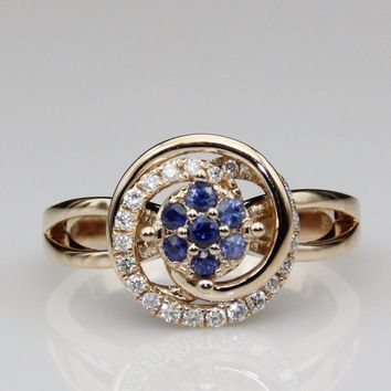 18k Rose Gold 0.15ct Round Cut Blue Sapphire Accent Solitaire Engagement Ring For Women