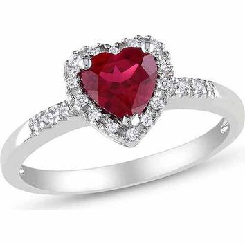Tangelo 1 Carat T.G.W. Created Ruby and 1/10 Carat T.W. Diamond Sterling Silver Heart Ring - Walmart.com