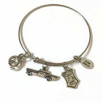 Police Car Expandable Bracelet Policeman Stacking Bracelet Police Charm Bangle Bracelet Police Adjustable Bangle Bracelet