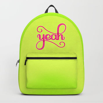 YEAH (BRIGHT HAND LETTERED TYPOGRAPHY ART) Backpacks by AEJ Design