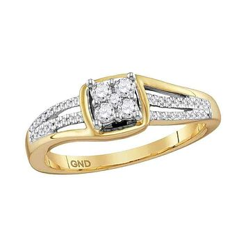 10kt Yellow Gold Women's Round Diamond Square Cluster Ring 1/4 Cttw - FREE Shipping (US/CAN)
