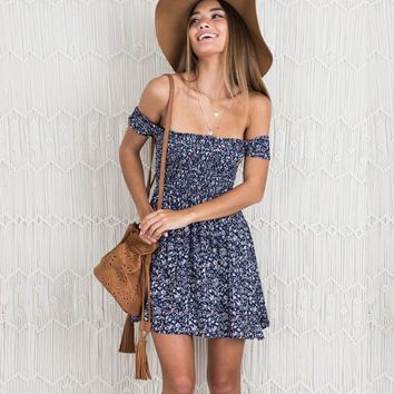Floral Summer Sexy Print Skirt Strapless One Piece Dress [11600789530]