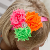 NEON Triple Shabby Flower Headband - Shabby Rose Headband - Neon Pink Green Orange - Rhinestone Center - Baby Headband  - Adult Headband