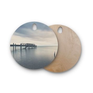 "Laura Evans ""Waiting for the Storm to Pass"" Gray Blue Round Wooden Cutting Board"