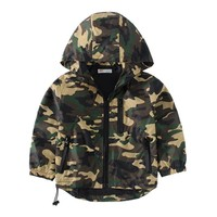 Boys Camouflage Zipper Windbreaker Long Sleeve Casual Trench Coat